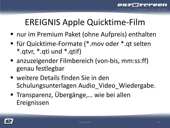 EREIGNIS Apple Quicktime-Film