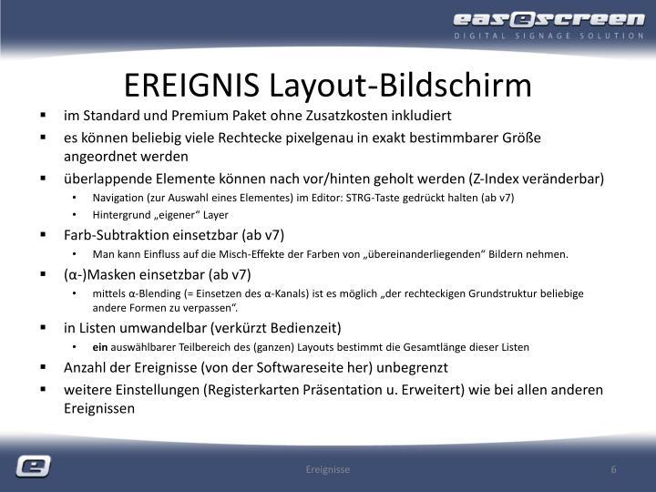 EREIGNIS Layout-Bildschirm