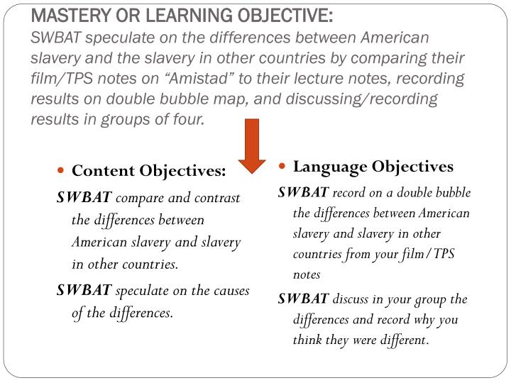 MASTERY OR LEARNING OBJECTIVE: