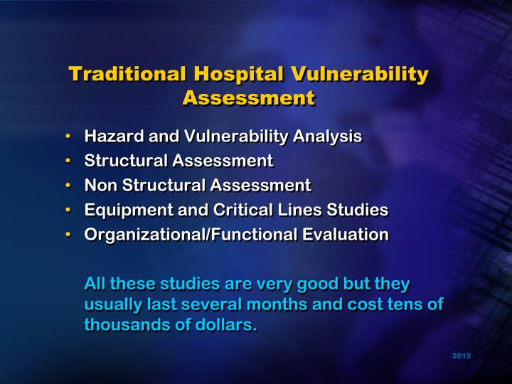 Traditional Hospital Vulnerability Assessment