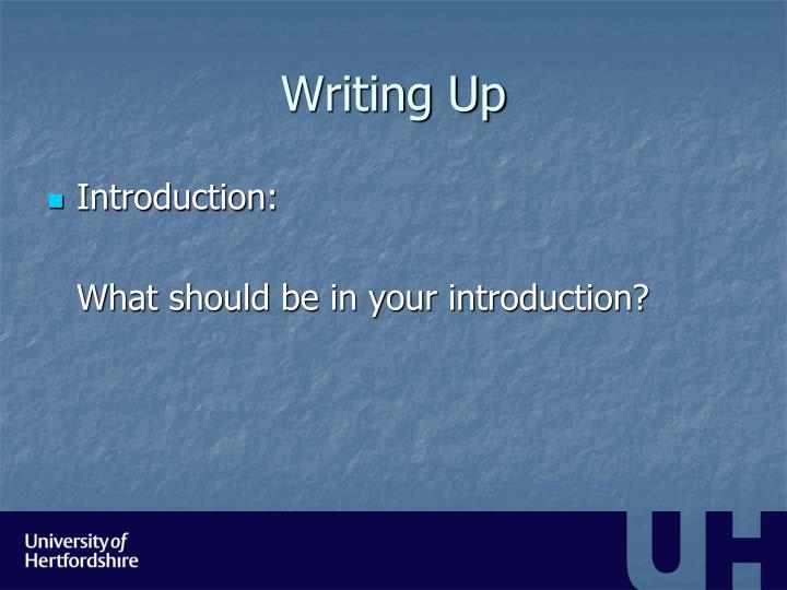 Writing Up