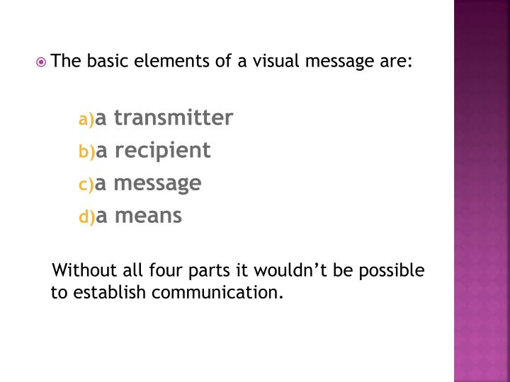 The basic elements of a visual message are: