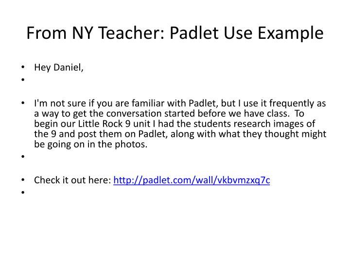 From NY Teacher: