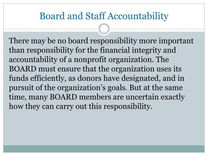 Board and Staff Accountability
