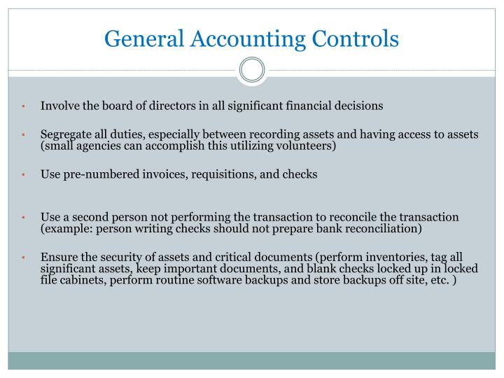 General Accounting Controls