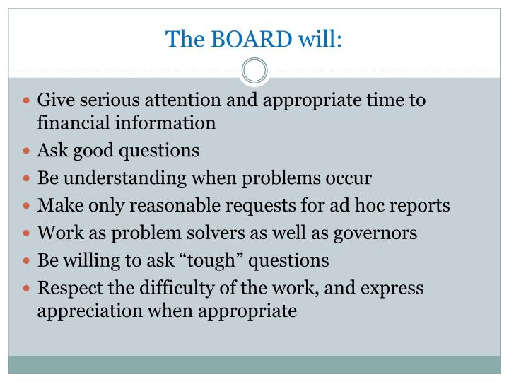 The BOARD will: