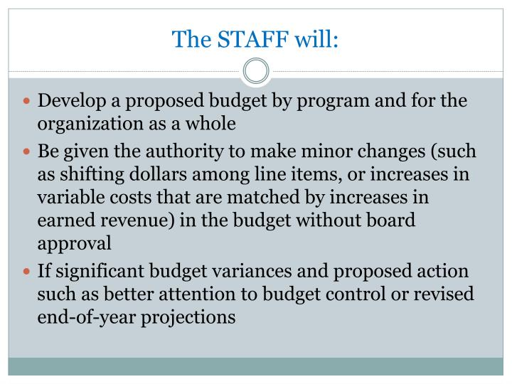 The STAFF will: