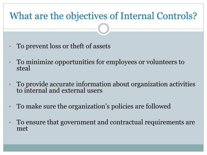 What are the objectives of internal controls