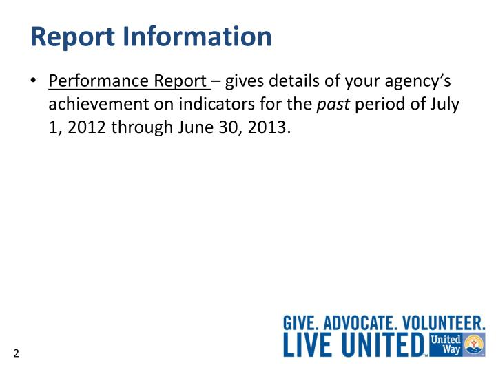 Report information