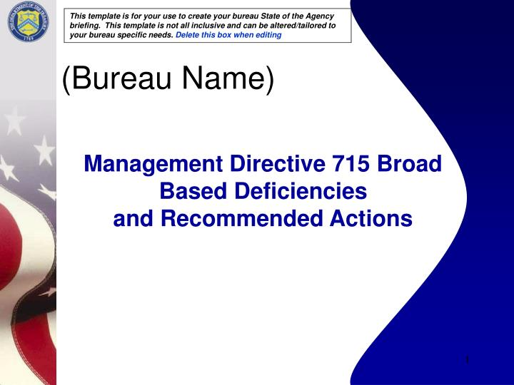 management directive 715 broad based deficiencies and recommended actions n.