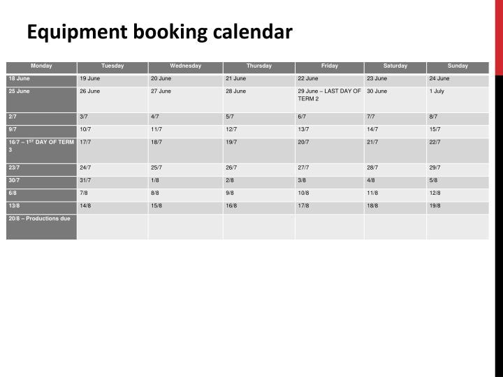 Equipment booking calendar