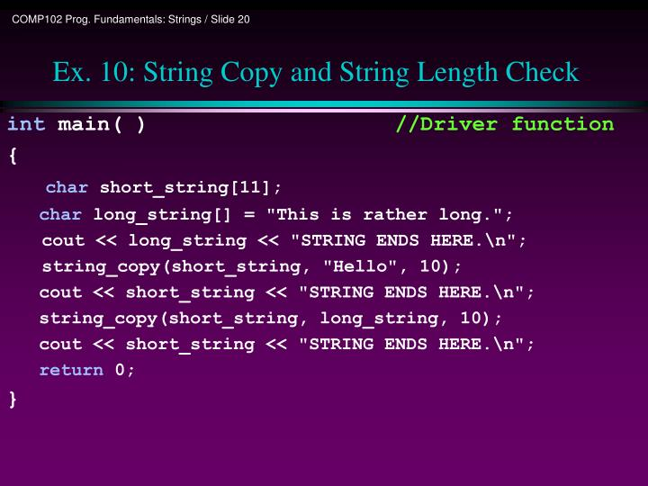 Ex. 10: String Copy and String Length Check