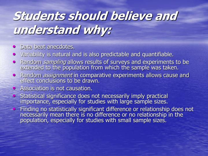 Students should believe and understand why:
