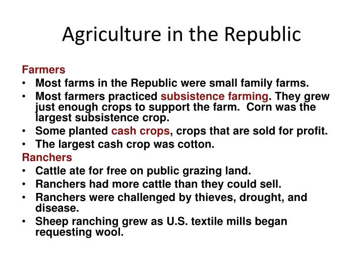 Agriculture in the Republic