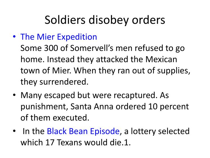 Soldiers disobey orders