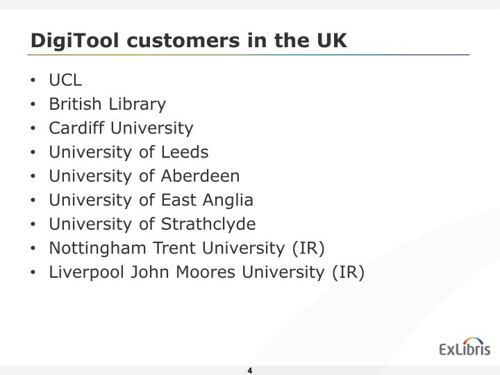DigiTool customers in the UK