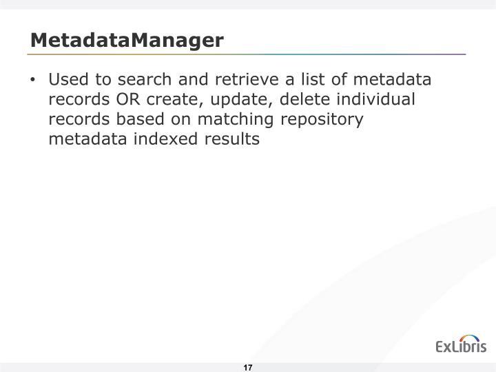 MetadataManager