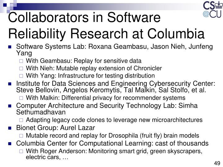 Collaborators in Software Reliability Research at Columbia