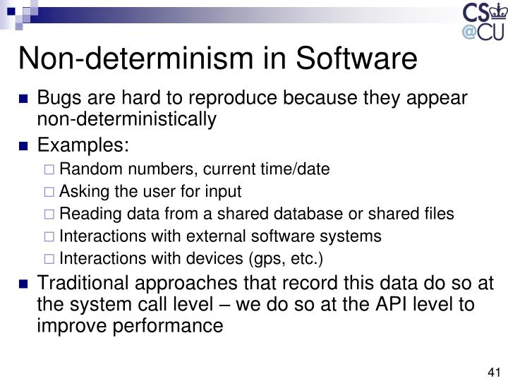 Non-determinism in Software