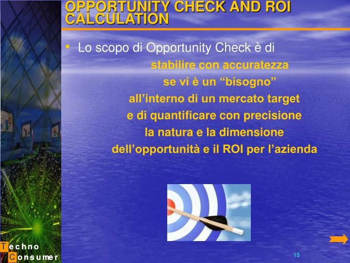 OPPORTUNITY CHECK AND ROI CALCULATION