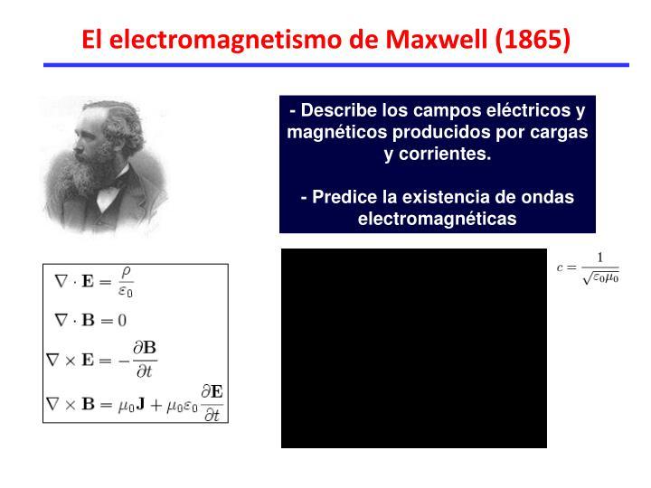 El electromagnetismo de Maxwell (1865)