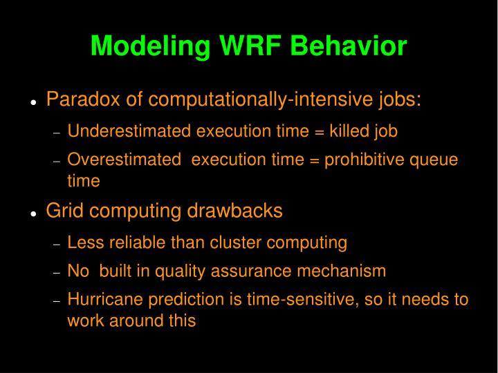 Modeling WRF Behavior