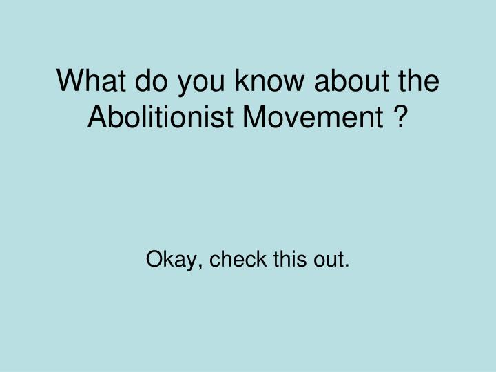 What do you know about the Abolitionist Movement ?