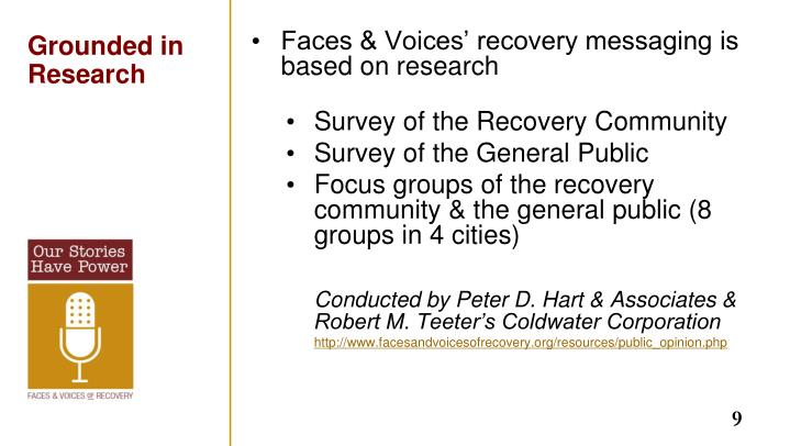 Faces & Voices' recovery messaging is based on research