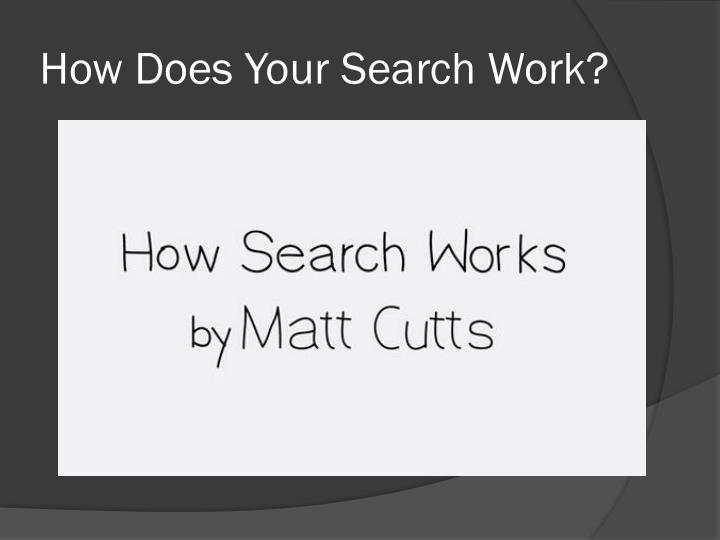 How Does Your Search Work?