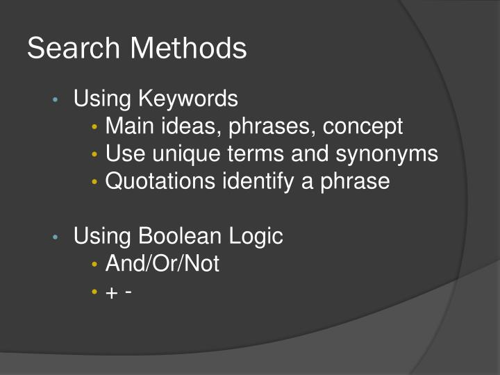 Search Methods