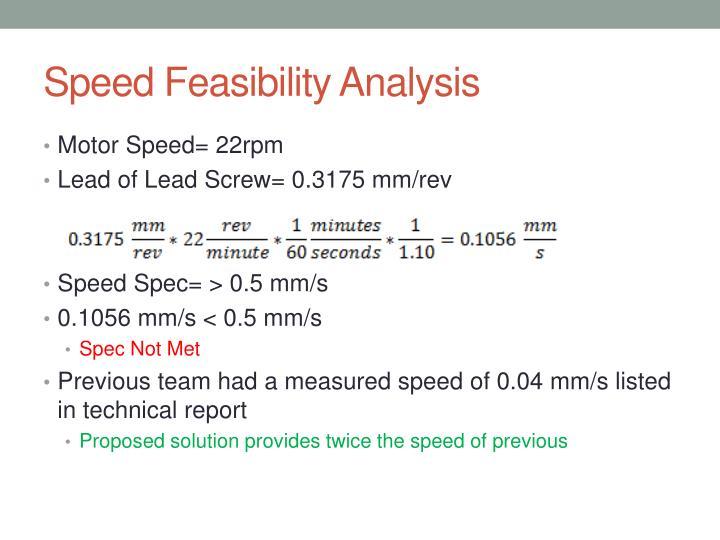 Speed Feasibility Analysis