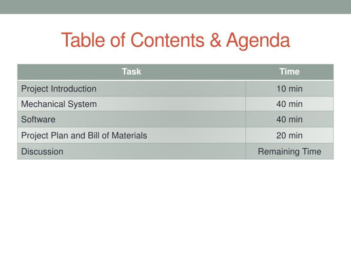 Table of contents agenda