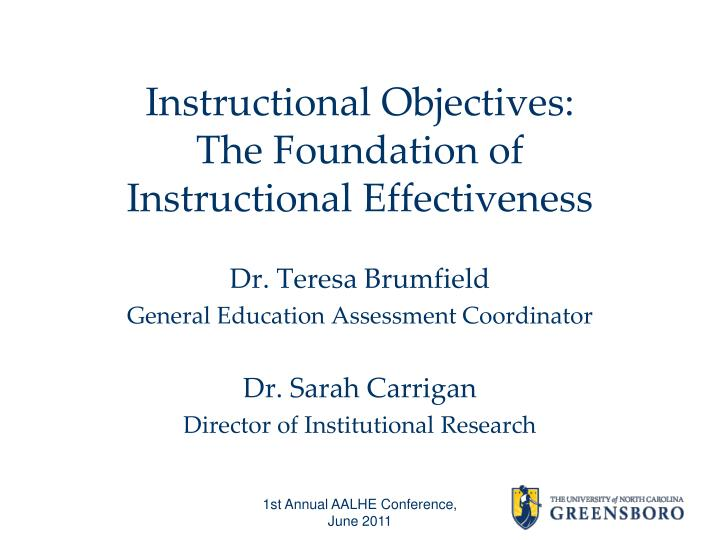 instructional objectives the foundation of instructional effectiveness n.