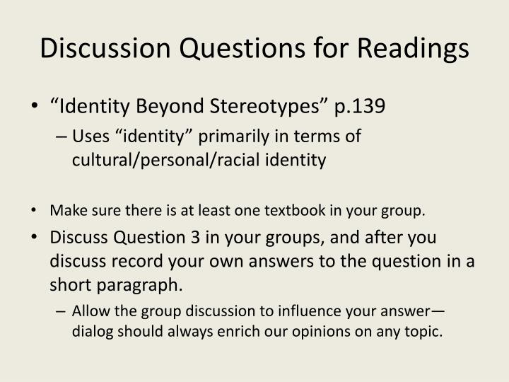 Discussion Questions for Readings