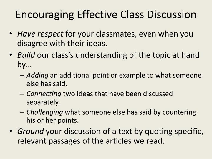 Encouraging Effective Class Discussion