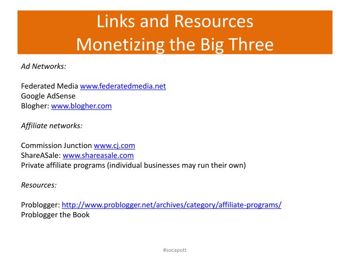 Links and resources monetizing the big three