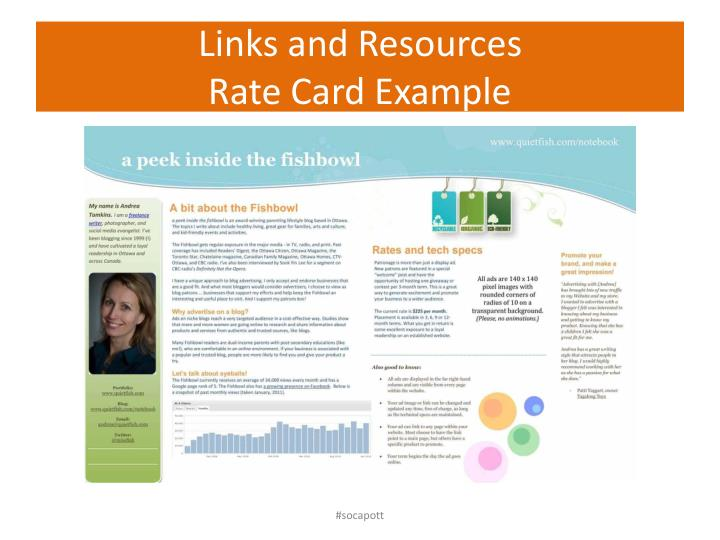 Links and resources rate card example