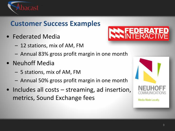 Customer success examples