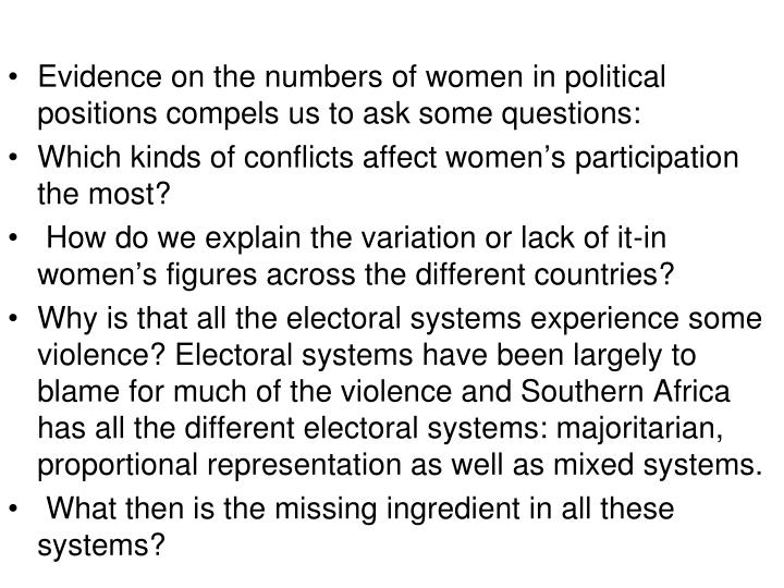 Evidence on the numbers of women in political positions compels us to ask some questions: