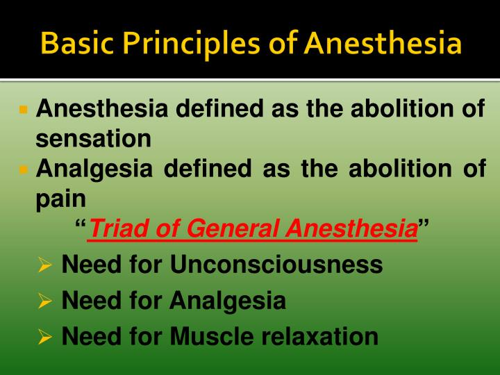 Basic Principles of Anesthesia