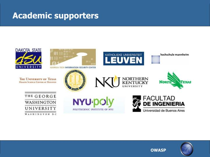 Academic supporters