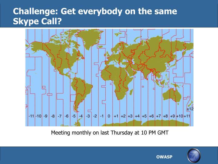 Challenge: Get everybody on the same Skype Call?