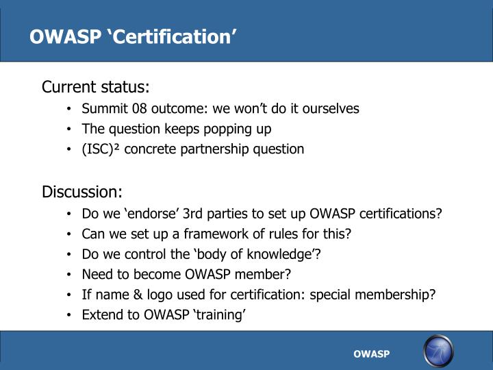 OWASP 'Certification'