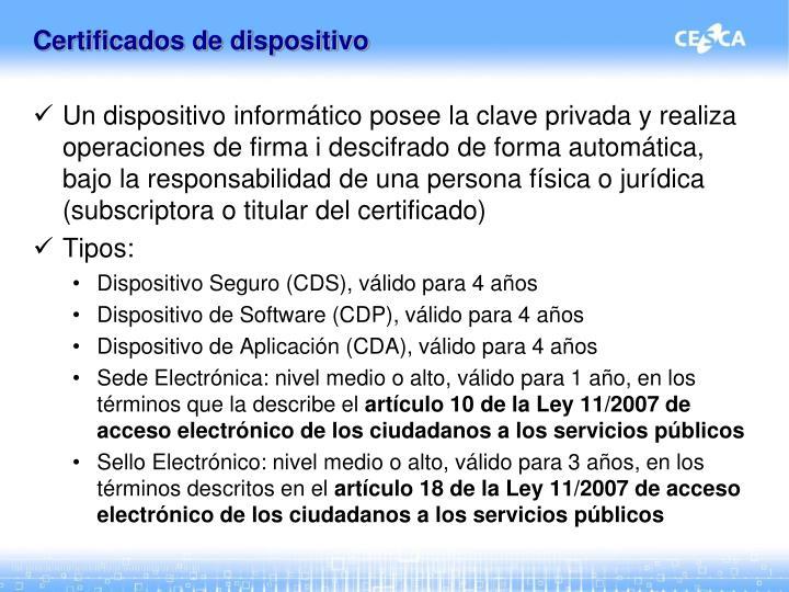 Certificados de dispositivo