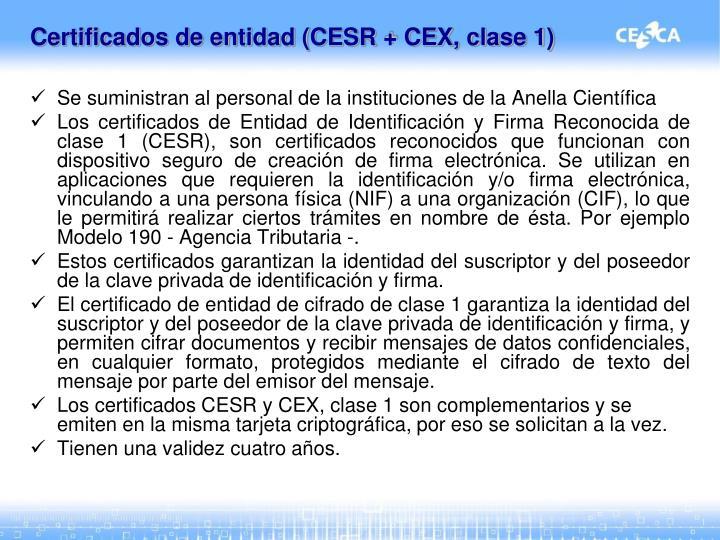 Certificados de entidad (CESR + CEX, clase 1)