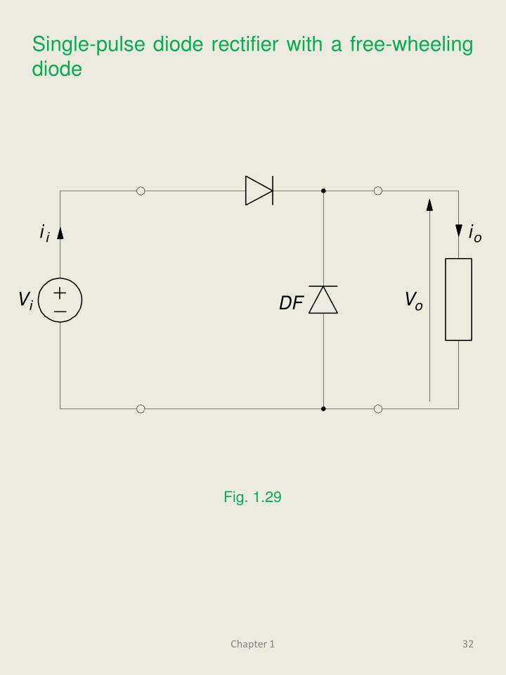 Single-pulse diode rectifier with a free-wheeling diode