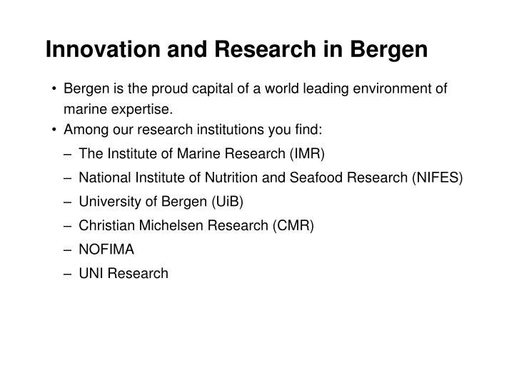 Innovation and Research in Bergen
