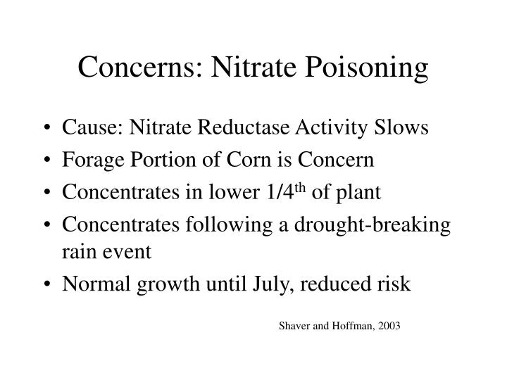 Concerns: Nitrate Poisoning