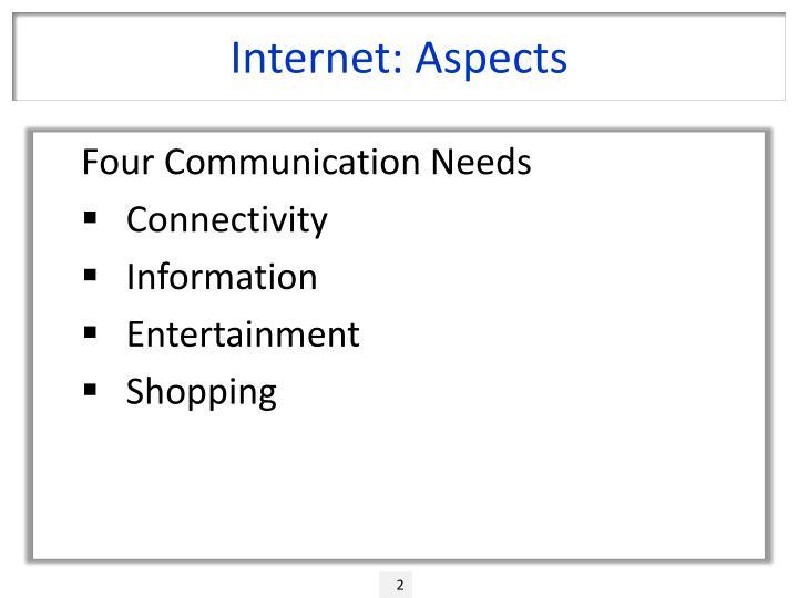 Internet aspects