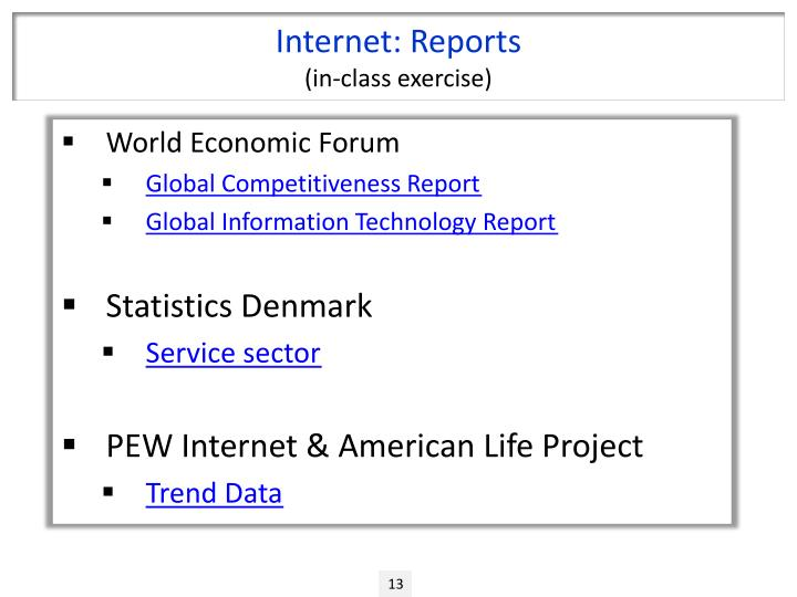 Internet: Reports